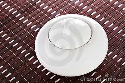 White Sugar Bowl on Placemat