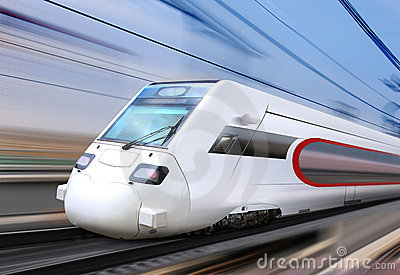 White Super Streamlined Train Stock Images - Image: 23293774
