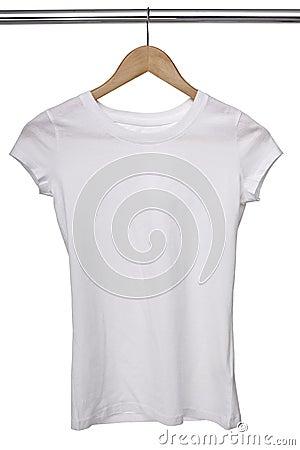 White t shirt on cloth hanger