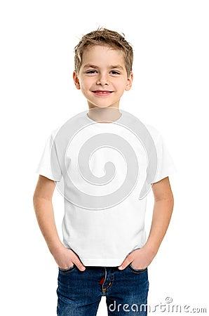 Free White T-shirt On A Cute Boy Stock Photo - 41232640