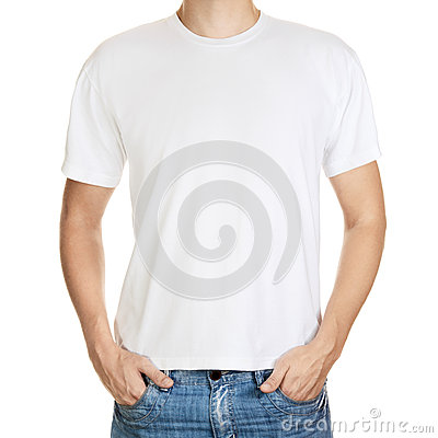 Free White T-shirt On A Young Man Template Isolated Stock Photography - 26153272