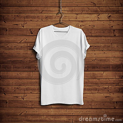 Free White T-shirt On Wood Wall Royalty Free Stock Photography - 45780277