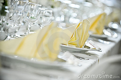 White tablecloth settings