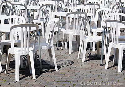 White tables and chairs