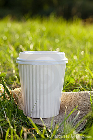 White take out coffee cup in the grass