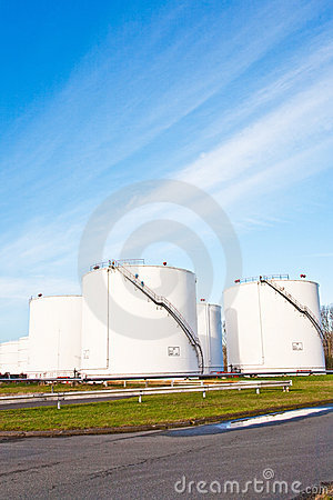 White tanks for petrol and oil in tank farm