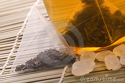 White tea, nylon tea-bag and sugar