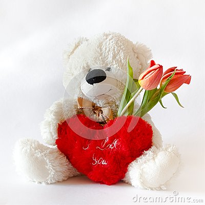 Free White Teddy Bear For Valentine`s Day Royalty Free Stock Photo - 107769565