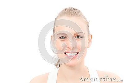 White teeth smiling woman