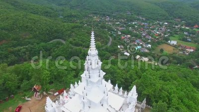 White Temple on Thailand Mountain stock footage