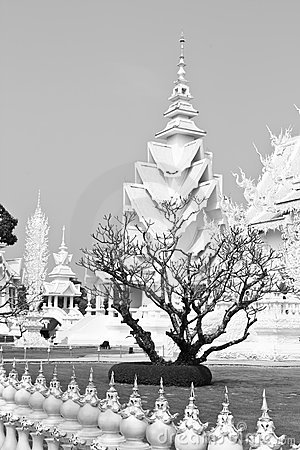 White temple and died tree