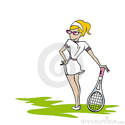 White tennis woman