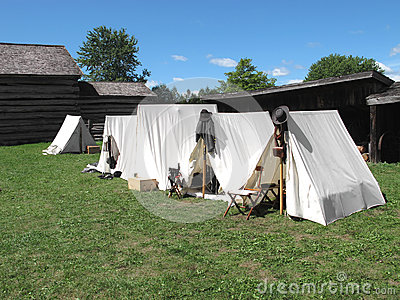 White tents at Civil War camp