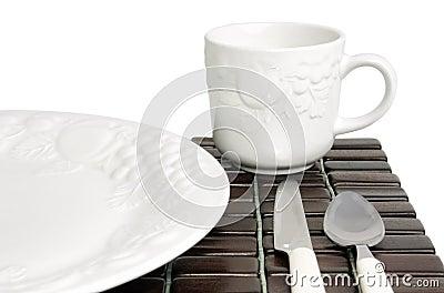 White textured china