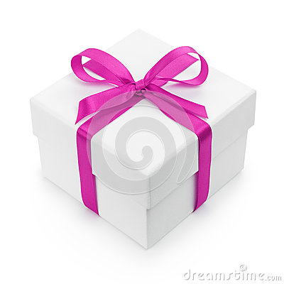 White textured gift box with purple ribbon bow