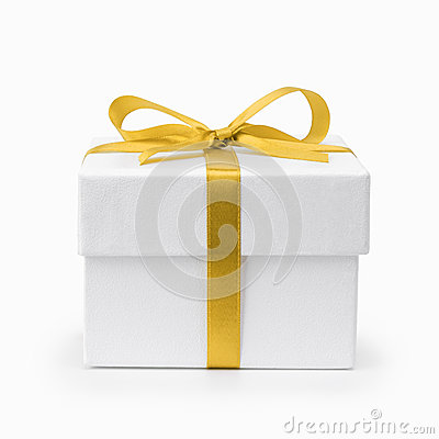 White textured gift box with yellow ribbon bow
