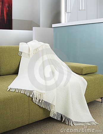 White throw draped over a settee