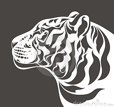 White tiger silhouette