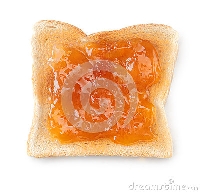 White toast topped with peach jam