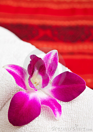 White towel and orchid