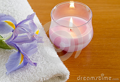 White towel with purple iris