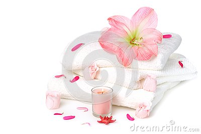 White towels with roses