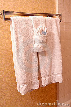 White Towels On Towel Rack In Hotel Stock Photography