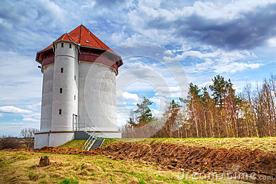 White tower of hydroelectricity in Bielkowo
