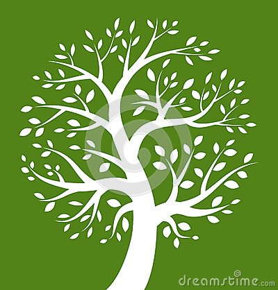 White Tree icon on green background Vector Illustration