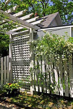 White trellis in a garden