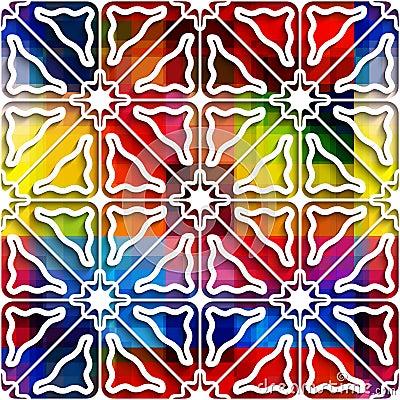 White triangle ornament on rainbow seamless pattern
