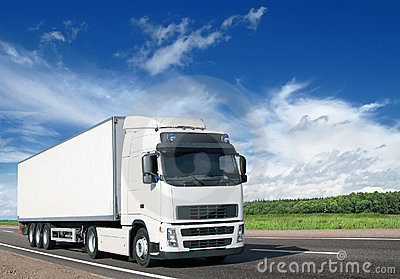White truck on country highway