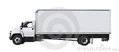 White truck isolated on white