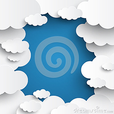 Free White Vector Clouds On Blue Sky Background Royalty Free Stock Photos - 38959148