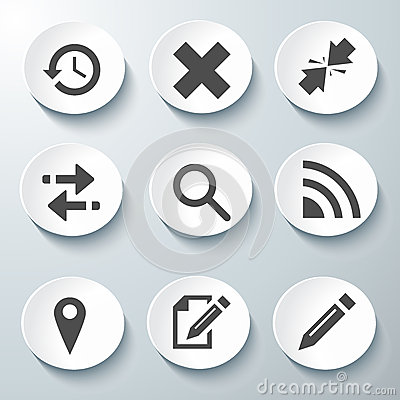 White Vector Icons Set