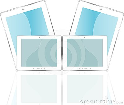 White vector tablet pc with blue screen
