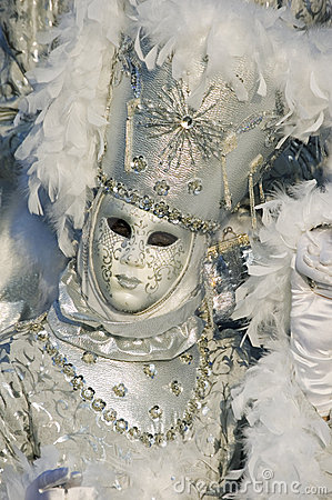 White venetian mask at Annecy s carnival. Editorial Photo