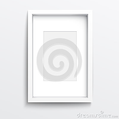 Free White  Vertical Frame On Gray Wall. Royalty Free Stock Photo - 33453445