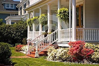 White Victorian porch