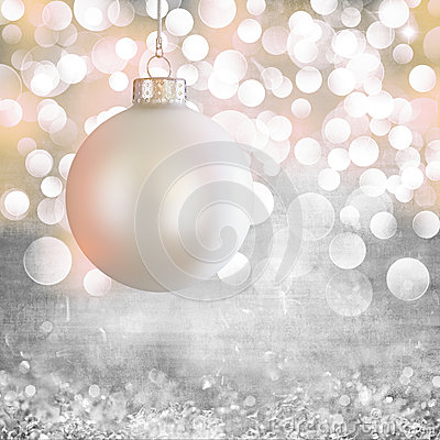 White Vintage Christmas Ornament Over Grey Grunge