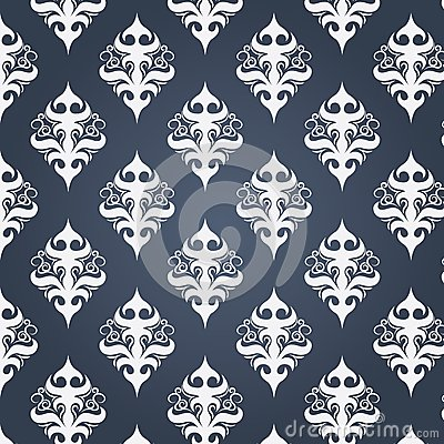 White vintage pattern on a dark background