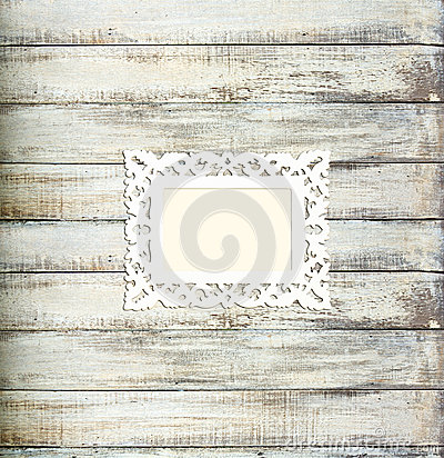Free White Vintage Picture Frame On Old Wood Background Royalty Free Stock Photos - 25893678