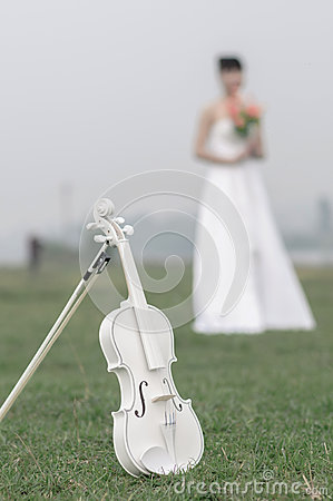Free White Violin In The Grass Royalty Free Stock Images - 37085919