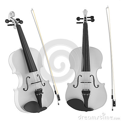 White violin isolated. Two angles of view