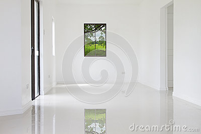 White wall of new house