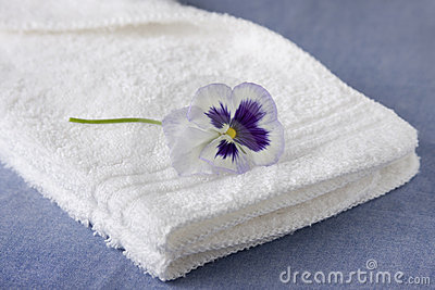White Washcloth with Purple Petunia