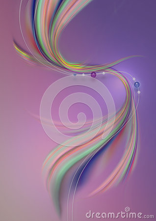 Free White Wavy Lines With Bead And Curved Colored Waves On A Purple-pink Background Royalty Free Stock Images - 45469049