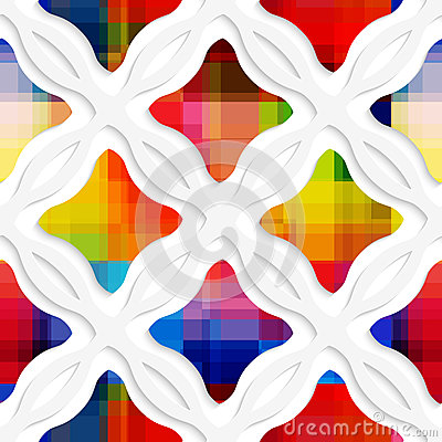 Free White Wavy Rectangles With Rainbow And White Net Seamless Patter Royalty Free Stock Image - 42655546