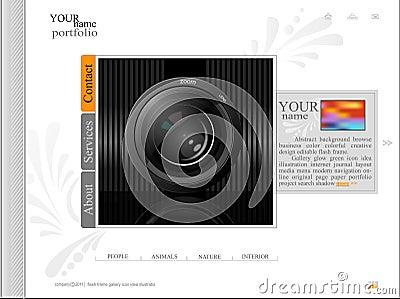 White web site, portfolio photographer with a lens