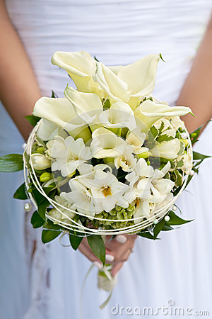 Free White Wedding Flowers In Bride S Hands Royalty Free Stock Photos - 26291078